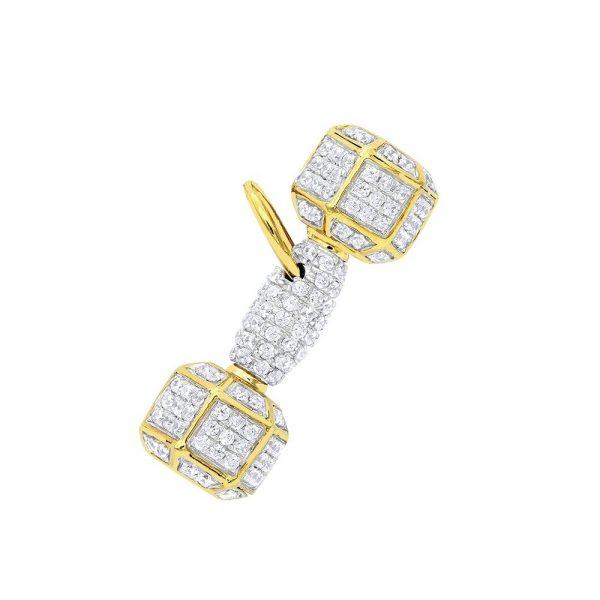 10K Gold Dumbbell Pendant & Necklace