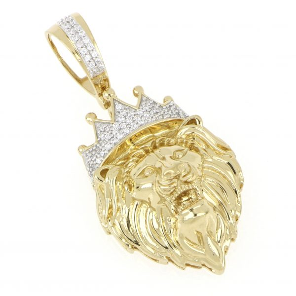 10k Gold Diamond Crowned Lion Micro Pendant