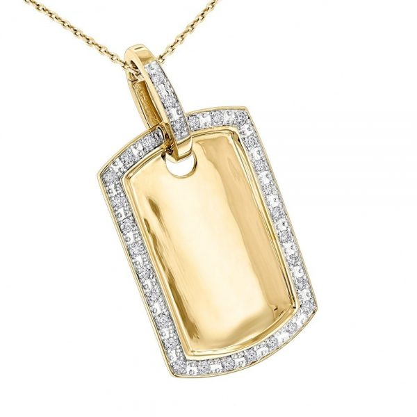 10k Gold-Diamond Dog Tag Pendant