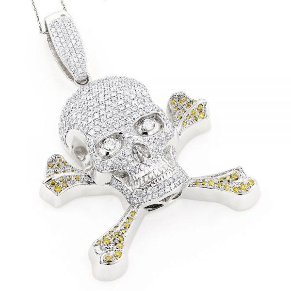 14k White Gold Diamond Skull Pendant