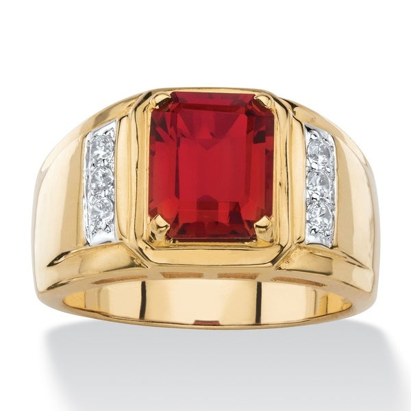 18k Genuine Red Garnet Ring