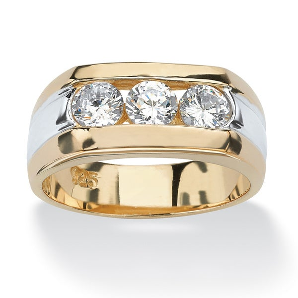 18k Sterling Silver Triple-Stone Ring
