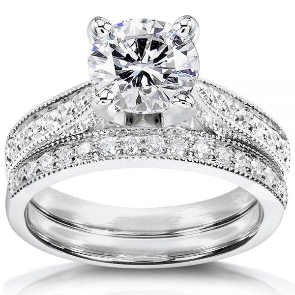 Annello-by-Kobelli-14k-White-Gold-1-1-3ct-TGW-Round-Moissanite-HI-and-Diamond-Pave-Milgrain-Bridal-Set-45972311-8537-443f-a645-8281987f49ca_1000