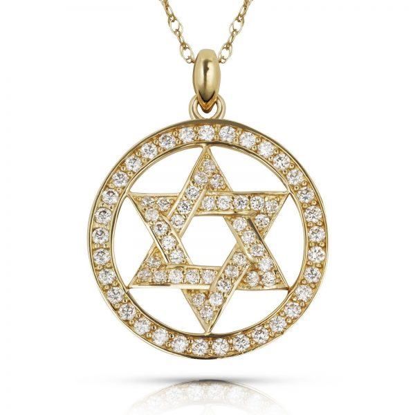 Curata-Solid-14K-Gold-16-inch-Cubic-Zirconia-Jewish-Star-of-David-Circle-Necklace-20mm-x-25mm-yellow-or-white-4c49c669-b343-47f9-b26c-8f4a355636e9