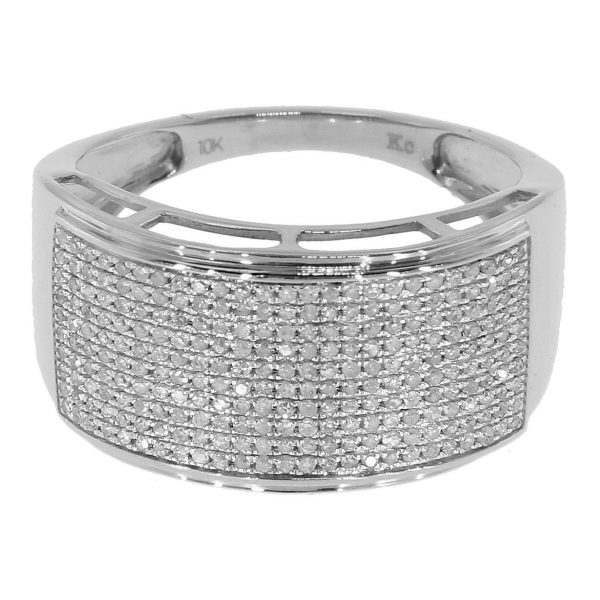Sterling Silver Pave Diamond Ring